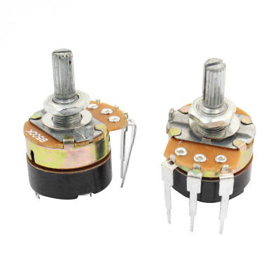 2Pcs B5K 500K Ohm Single Linear Rotary Switch Carbon Potentiometers with Switch