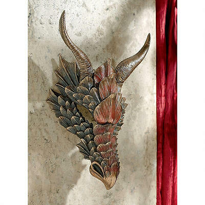 Gothic Feathered Armor Mythical Medieval Dragon Head Trophy Wall Sculpture
