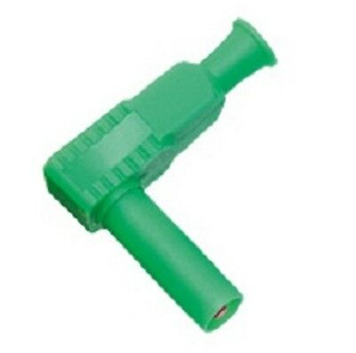 4mm Shrouded Right Angle Banana Plug Connector Green Safety Test 90 Deg.