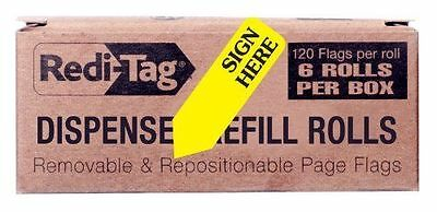 Redi-Tag Sign Here Printed Arrow Flags, 6 Roll Refill, 120 Flags per Roll, 1-7/8