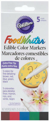 Wilton FoodWriter Edible Color Markers 5 Colors Extra Fine Tip Food Writer