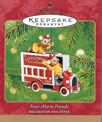 Hallmark Four-Alarm Friends Mice On Fire Truck Keepsake Ornament 2001 NIB