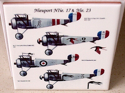 World WAR I 1 Nieuport Nie.17 and Ni.23 french aicraft WW1 CERAMIC  TILE