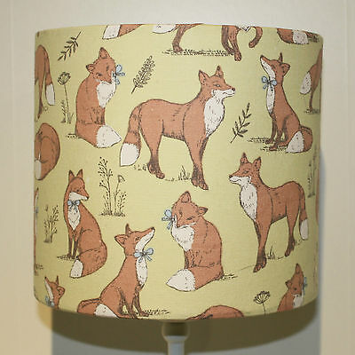Mrs Fox Lime - 20cm Drum Lampshade