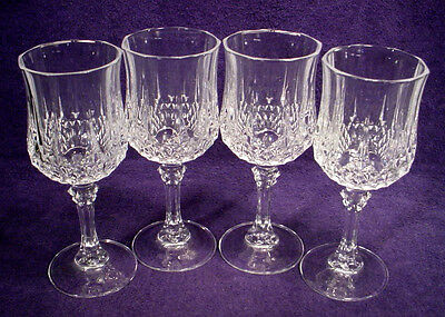 "4 MINT Cristal D'Arques LONGCHAMP Lead Crystal WINE 6-1/2"" WATER Goblets LOT Set"