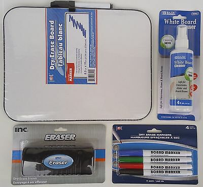 "DRY ERASE BOARD LIGHT DUTY8.5""x11"", ERASER, CLEANER & FINE MARKERS SELECT: Items"