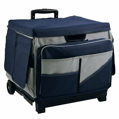 Rolling Cart Teacher Classroom Supplies Removable Apron Organizer Foldable  Blue