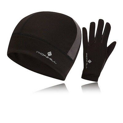 Ronhill Vizion Mens Black Thermalite Running Sports Beanie Hat Gloves Set