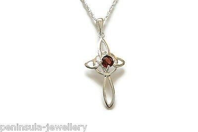 9ct Gold Garnet Necklace Pendant no chain Gift Boxed Made in UK