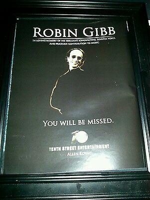 Robin Gibb Bee Gees In Memory Rare Original Promo Poster Ad Framed!
