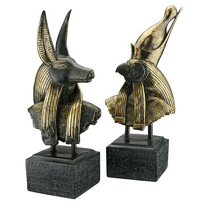"Anubis and Horus: 18"" Gods of Ancient Egypt Sculptural Museum Mount Statue Busts"