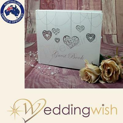 Guest Book - Silver Hearts - Engagement, Wedding 21st Anniversary