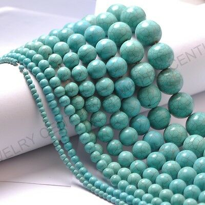"""1Strand Turquoise 4mm 6mm 8mm 10mm 12mm Natural Gemstone Round Loose Beads 16"""""""