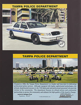 TAMPA BAY Florida POLICE DEPARTMENT Ford City Squad Patrol Car 2002 CARD