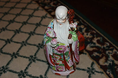 Superb Chinese Spiritual Man Figure Holding Staff-Floral Gown-White Beard