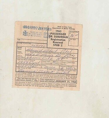 1959 Opel Sedan ORIGINAL New York Registration Certificate us1096