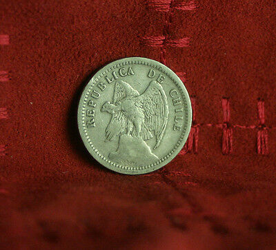 1932 Chile 20 Centavos World Coin Defiant Condor on Rock  KM167.3 20 cents