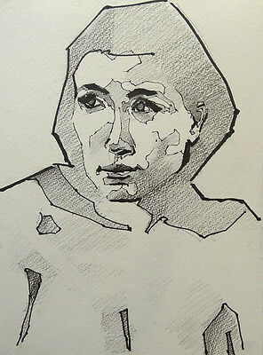 Original Drawing, Life Drawing, A4, Female Ink Portrait Front  Facing Left