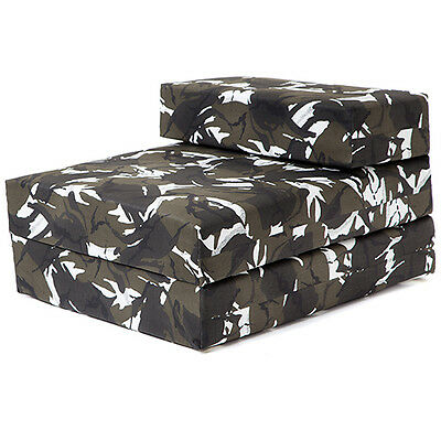 Single Chair Bed Urban Camouflage Z Bed Foam Sofa Futon Gaming Camping Childrens
