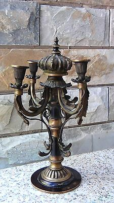 ANTIQUE  19c GERMAN BRONZE ORNAMENTAL CROWN FINIAL 4 CANDLESTICK HOLDER