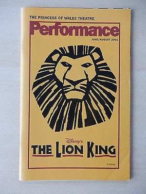 June/August 2001 - Princess Of Wales Theatre Playbill - The Lion King - Clark