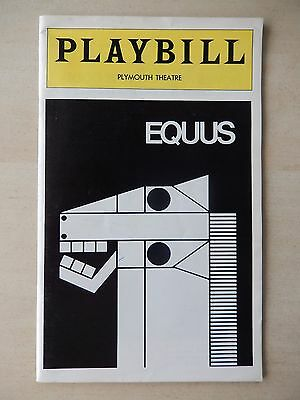 October 1974 - Plymouth Theatre Playbill w/Ticket - Equus - Anthony Hopkins
