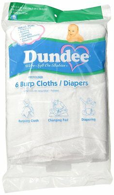 Dundee Burp Cloths/Diapers, White  from Dundee100% cotton 6 per package [13277]