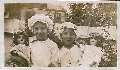 Two Charming Girls, Sisters With Two Dolls & Original Vintage Snapshot Photo