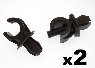 2x VW Black Plastic Bonnet Stay Holder Clips- Clips to hold Bonnet Support Rod