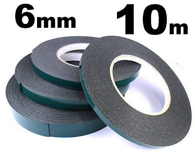 Double Sided Car Trim Moulding & Badge Tape- Strong Foam Adhesive- 6mm x 10m