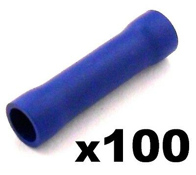100x Blue Insulated Straight Butt Connector Electrical Crimp Terminals for Cable