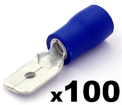 100x Insulated Blue Male Electrical Spade Crimp Connector Terminals - 6.3mm
