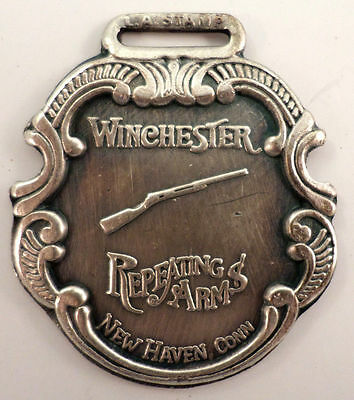 Winchester Rifle Repeating Arm Metal Gun Watch Fob Silver Antique Patina