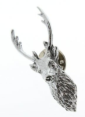 A.E. Williams Fine Brittish Pewter Lapel Hat Pin Stag Deer Head #35140