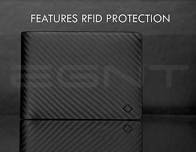 EGNT. Carbon Saffiano Wallet RFID GENUINE LEATHER BIFOLD MENS CARD HOLDER NEW