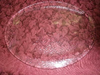 Lovely Crinkle Glass Large Serving Platter / Tray