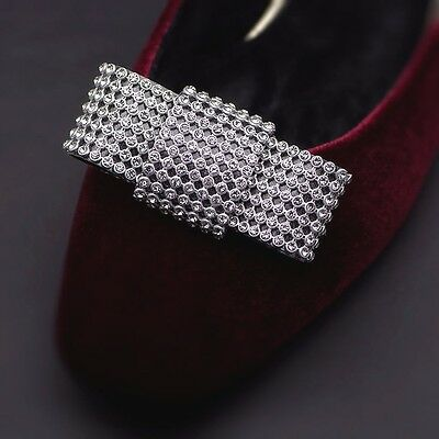 Sexy Clear Rhinestone Crystal Black Bow Sparkle Party Shoe Clips Pair