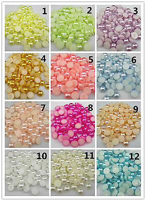 New 4/6/8MM Half Round Pearl Bead Flat Back Scrapbook For Craft 18 Colors Pick