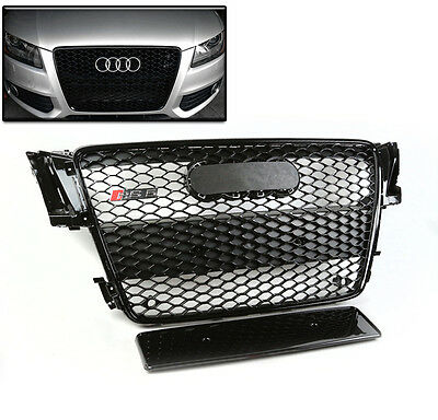 08-12 Audi A5/s5 8T Honeycomb Sport Mesh Front Hood Grille Grill Glossy Black