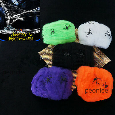 Halloween Stretchable Fake SPIDER WEB W/ 2 Spiders Cotton Trick Party Home Decor