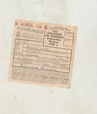 1950 Plymouth Coupe ORIGINAL New York Registration Certificate us1139