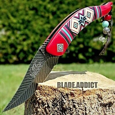"Native American Indian ""Style"" Spring Assisted Pocket Knife Damascus Feather Red"