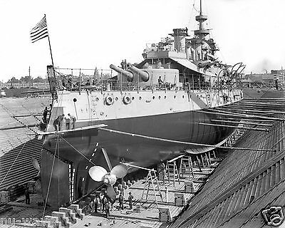 1898 Photo of Battleship USS Oregon in Drydock Brooklyn Navy Yard