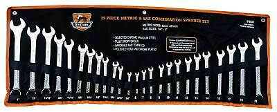 25 Piece Ring Open End combination Spanner Set METRIC & SAE Chrome Vanadium