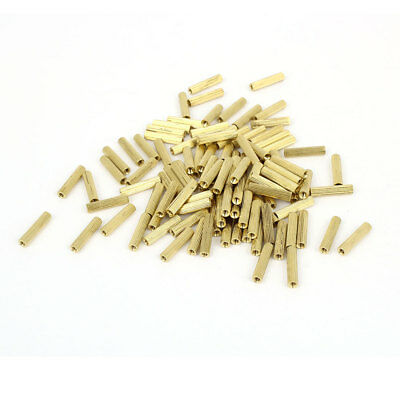 100 Pcs Female Threaded Pillars Brass Standoff Spacer Gold Tone M2x14mm