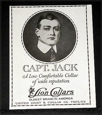 1919 Old Magazine Print Ad, Lion Collars, Capt. Jack, A Comfortable Low Collar!