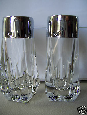 "Vintage Glass With Stainless Steel Lids Salt & Pepper Shakers 4"" Tall"