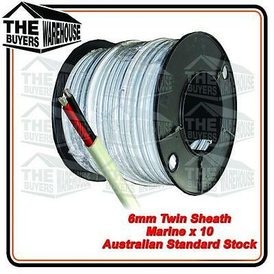 10M x 6mm MARINE GRADE TINNED 2 CORE TWIN SHEATH  BOAT ELECTRICAL CABLE TYCAB