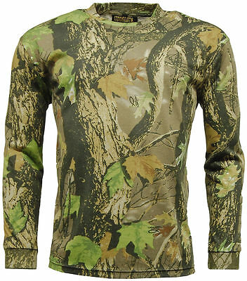 Country Gods Camouflage Camo LONG SLEEVE T Shirt Army - Reinforced Neck