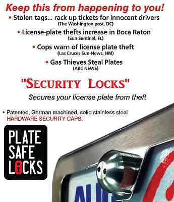 PlateSafe,Anti-Theft,Tamper Free,License Plate Security Locks,Screws,Stainless